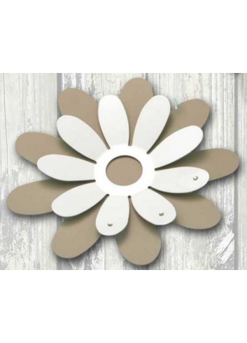 White and taupe metal Margherita centerpiece with strass MRG-10-11-12 Series Margherite Negò