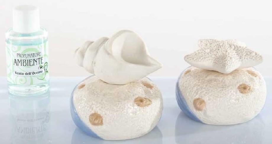 Profumatore conchiglia in ceramica 2 modelli assortiti A7714 Kharma Living
