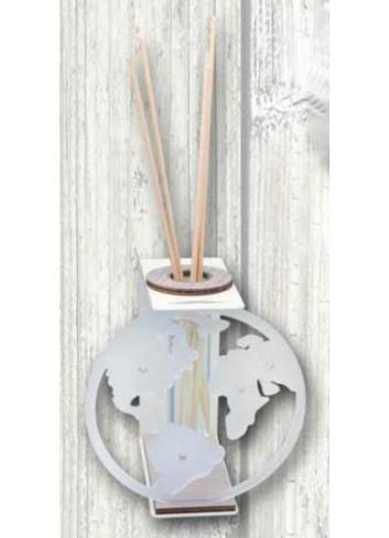 Profumatore in metallo bianco con applicazione Mondo in plexigass satinato TRA-13 Serie Transparent 2020 Negò