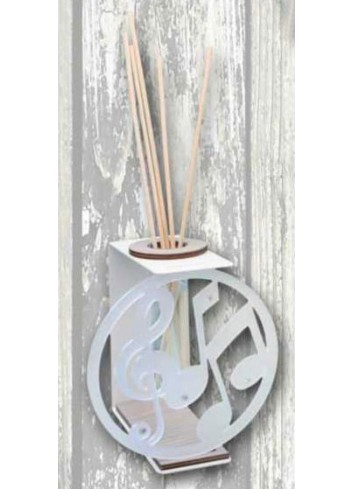 White metal Home Fragrance with satin plexiglass Musical Notes application TRA-12 Transparent 2020 series Negò