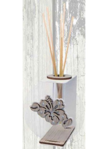 Light grey metal and plexiglass Home Fragrance with wooden Hibiscus + strass VAL-02 Series Valentina Negò
