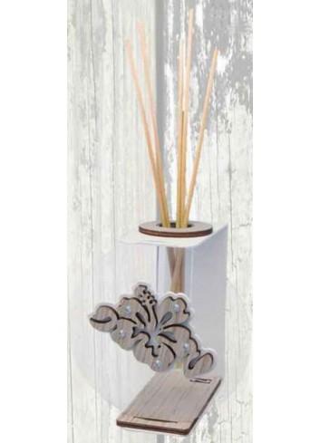 Profumatore in metallo grigio chiaro e plexiglass con applicazione Hibiscus in legno + strass VAL-02 Serie Valentina Negò