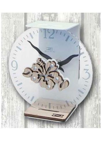 Orologio da appoggio in metallo grigio chiaro e plexiglass con appl. Hibiscus in legno + strass VAL-03-06 Serie Valentina Negò