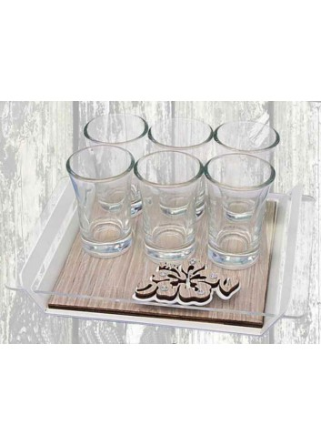 Metal tray with wooden base with Hibiscus application + 6 glasses VAL-05 Series Valentina Negò