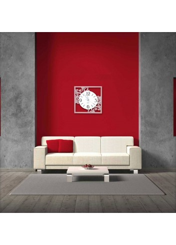 Orologio da parete in metallo bianco RAM-39-49 Serie Ricami Negò