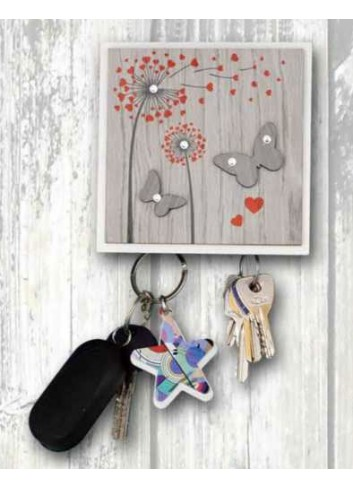 Wooden key holder hanger 2 places with colored print Shower heads + strass ARI-05 Series Shower Heads 2020 Negò