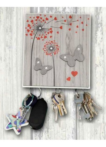 Wooden key holder hanger 3 places with colored print Shower heads + strass ARI-07 Series Shower Heads 2020 Negò