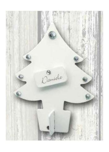 Albero di Natale piccolo segnaposto in metallo bianco + strass + targhetta neutra NA-ALB-01 Serie Natale 2020 Negò