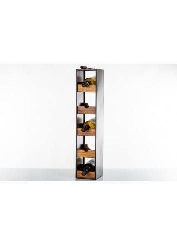 Wooden Cabinet column for 5 bottles 79 x 16 x 20 cm E3497 Kharma Living