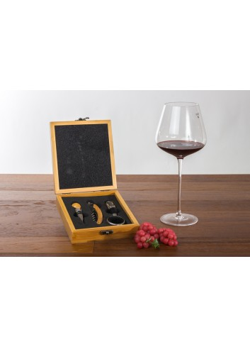 Wooden Box with 4 wine tools 18 x 15 cm E3487 Kharma Living