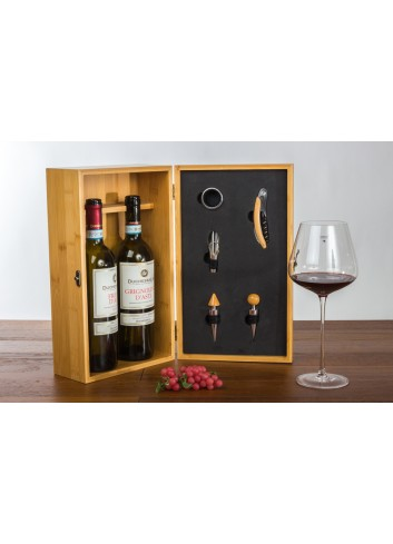 Wooden Box for 2 bottles and 5 wine tools 36 x 20 x 11 cm E3486 Kharma Living