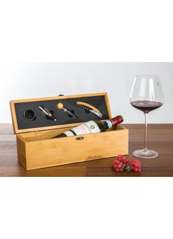 Wooden Box for 1 bottle and 4 tools wine 36 x 11 x 11 cm E3485 Kharma Living
