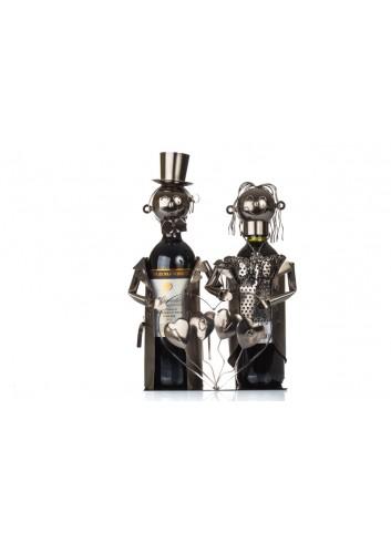 Metal Newlyweds Love bottle holder 35 x 11 x 26 cm E3462 Kharma Living