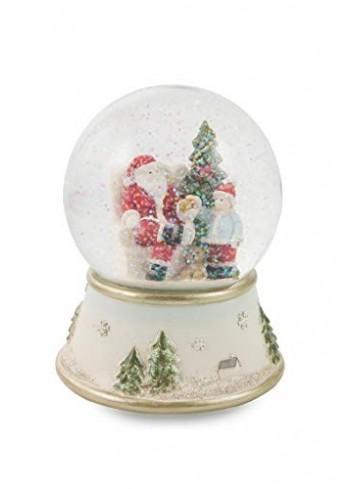 Musical Snow Bowl - red Santa Claus with Tree and child Ø 11 cm 2424888 Villa d'Este Home Tivoli