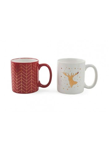 Set 2 Mug Bone China mosaic decoration and golden reindeer with stars Ø 8,6 x H. 9,8 cm 2423185 Villa d'Este Home Tivoli