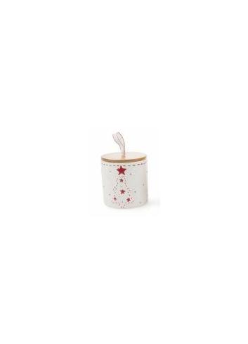 White ceramic Jar with Christmas Tree decoration and Bambù cover 2423131 Villa d'Este Home Tivoli