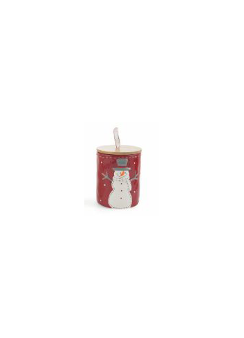Ceramic red Jar with snowman decoration and Bambù cover 2423130 Villa d'Este Home Tivoli