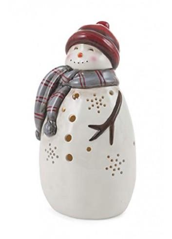 Pupazzo di neve traforato in ceramica con luce Led 12,8 x 11 x 23,3 cm 2424551 Villa d'Este Home Tivoli