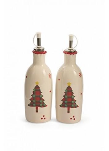 Ceramic oil - vinegar set with tartan decoration Ø 7,4 x 21 H. cm 2417728 Villa d'Este Home Tivoli