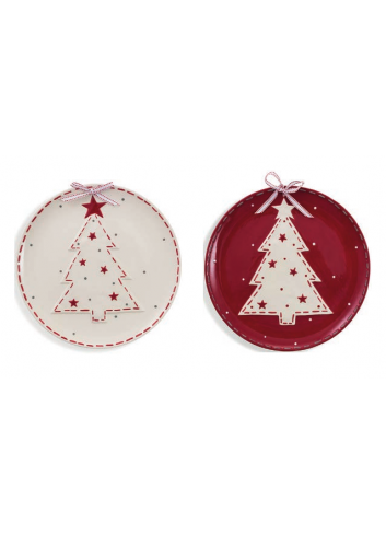 Round ceramic plate with Christmas Tree decoration two assorted colors Ø 31 cm 2423135 Villa d'Este Home Tivoli