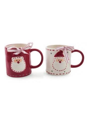Mug with Santa Claus decoration 2 assorted colors Ø 9,5 x 11 H. cm 2423123 Villa d'Este Home Tivoli