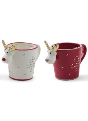 Reindeer mug 2 assorted colors Ø 9,5 x 12 H. cm 2423114 Villa d'Este Home Tivoli