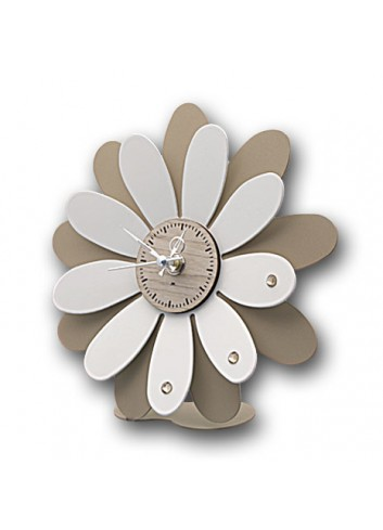 White and taupe metal Margherita clock with strass MRG-03-06 Series Margherite Negò