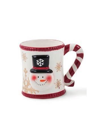 Bonbon mug with gold stars and snowman decoration Ø 10 x 11 H. cm 2424797 Villa d'Este Home Tivoli