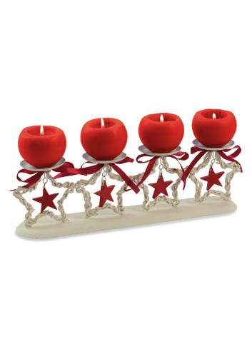 White 4-place candle holder with red stars 45 x 13 x 19 H. cm 2420885 Villa d'Este Home Tivoli