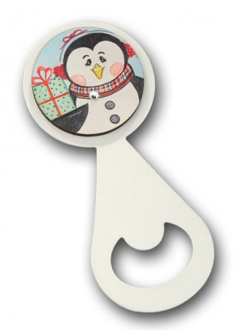 Metal bottle opener with colored print Penguin NA-ST-01 Christmas Series 2020 Negò