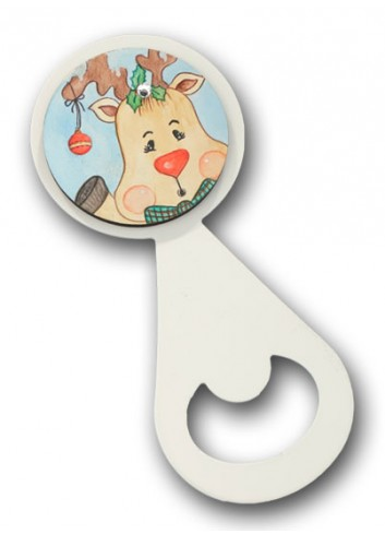 Metal bottle opener with colored print Reindeer NA-ST-03 Christmas Series 2020 Negò
