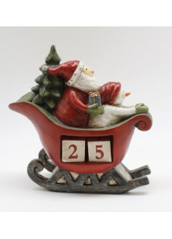 Resin sled with Santa Claus with advent calendar 20,5 x 8,5 x 20 cm RS 5095 Stile Nordico