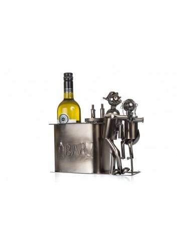 Coppia brindisi portabottiglia in metallo 23 x 15 x 29 cm E3326 Kharma Living