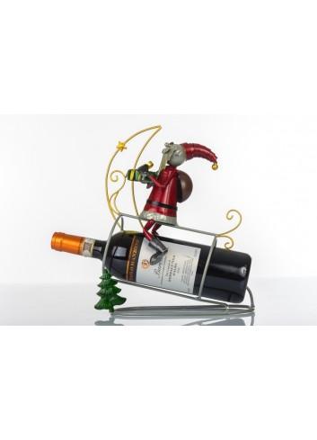 Babbo Natale portabottiglia in metallo 29 x 14 x 32 cm E3348 Kharma Living