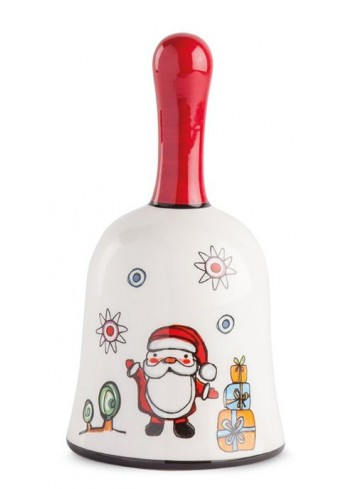 Santa Claus glazed ceramic bell HC05S-3BN Happy Christmas Egan