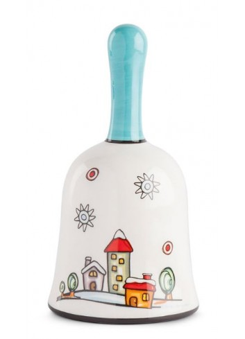 Landscape glazed ceramic bell HC05S-3HO Happy Christmas Egan