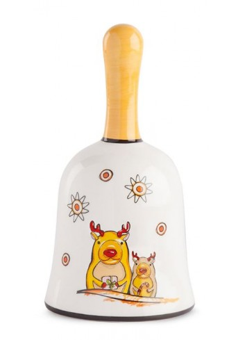 Campanella in ceramica smaltata Renne HC05S-3RN Happy Christmas Egan