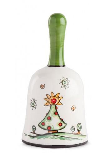 Campanella in ceramica smaltata Albero di Natale HC05S-3AL Happy Christmas Egan