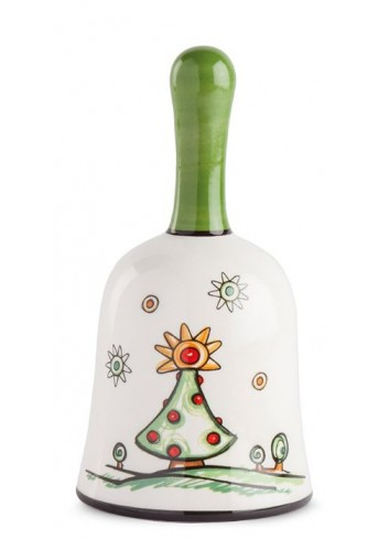 Christmas Tree glazed ceramic bell HC05S-3AL Happy Christmas Egan