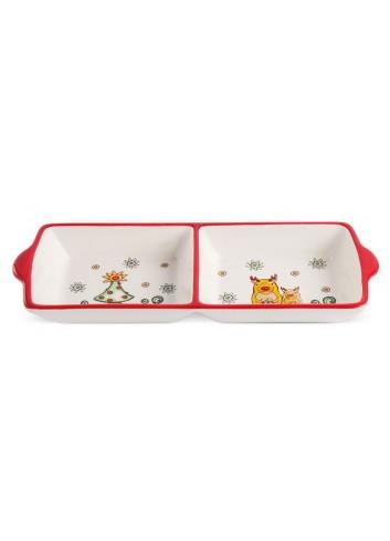 Antipastiera natalizia doppia in ceramica smaltata HC42R-3 Happy Christmas Egan
