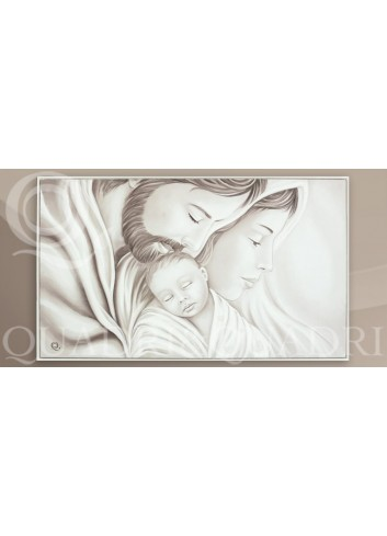 "Dipinto su tela Sacra Famiglia ""Eterna unione"" + cornice bianca SF1023-CCB Quadri & Quadri"