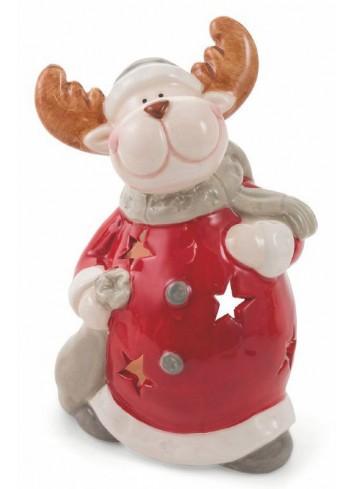Dolomite Christmas Tealight Big Reindeer 2 assorted colors 2423015 Villa d'Este