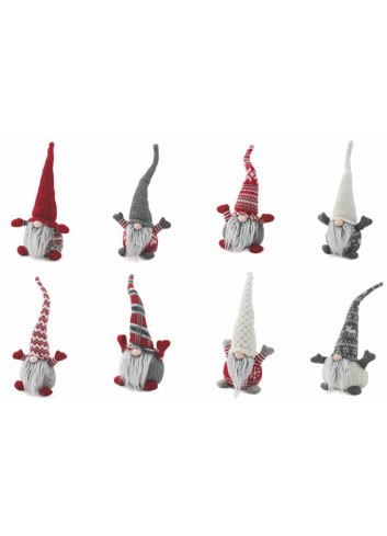 Troll Gnome with hat and beard in polyresin and fabric 8 assorted models 2423042 Villa d'Este