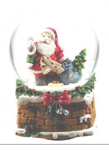 Musical Snow Globe Santa Claus with scarf Ø 10 cm