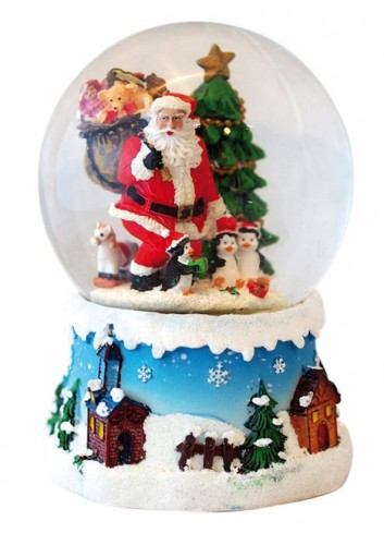 Musical Snow Globe - Santa Claus with penguins
