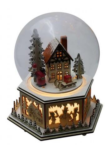 Sfera musicale con neve in vetro con Villaggio in legno