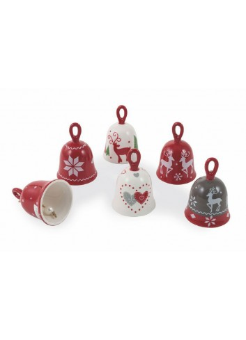 Hard dolomite Christmas Bluebell with ring handle 6 assorted decorations 2424792 Villa d'Este