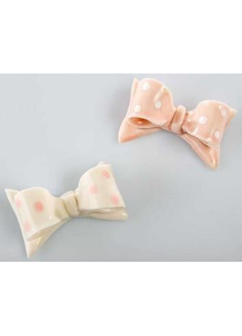 Magnete fiocco in ceramica 2 colori assortiti - bianco rosa A7656 Kharma Living