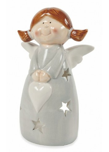 Glam Xmas Dolomite T-Light Holder Angel with heart 3 assorted colors 5900561 Villa d'Este