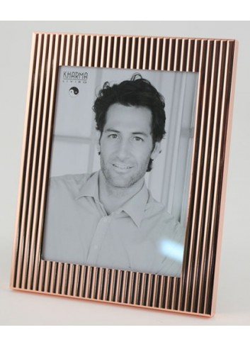 Portafoto color Rame decoro onde 15 x 20 cm H5030 Kharma Living